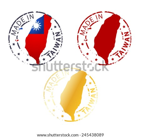 made in Taiwan stamp  - stock vector