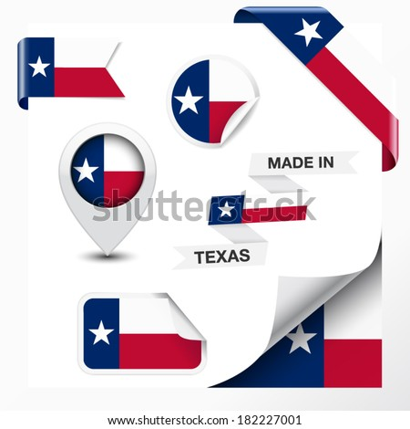 Made in Texas collection of ribbon, label, stickers, pointer, badge, icon and page curl with Texan flag symbol on design element. Vector EPS 10 illustration isolated on white background. - stock vector