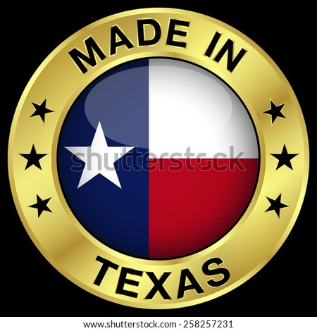 Made in Texas gold badge and icon with central glossy Texan flag symbol and stars. Vector EPS 10 illustration isolated on black background. - stock vector