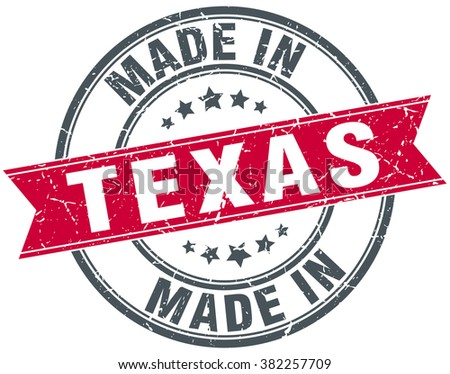 made in Texas red round vintage stamp - stock vector