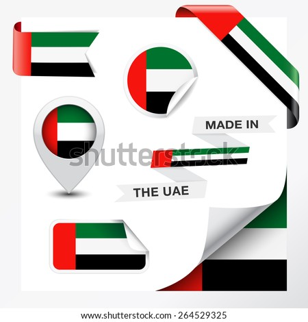 Made in The United Arab Emirates collection of ribbon, label, stickers, pointer, badge, icon and page curl with UAE Emirati flag symbol on design element, vector EPS 10 illustration. - stock vector