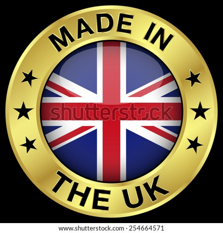 Made In The United Kingdom gold badge and icon with central glossy UK flag symbol and stars. Vector EPS 10 illustration isolated on black background. - stock vector