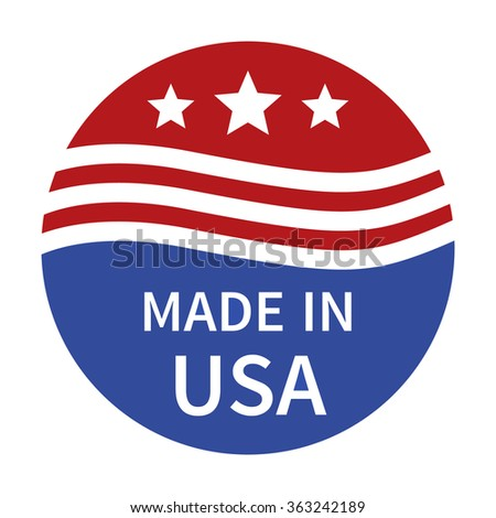 Made in the USA badge, label, seal, sign flat color icon for goods and products - stock vector