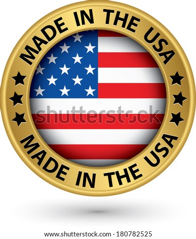 Made in the USA gold label, vector illustration - stock vector
