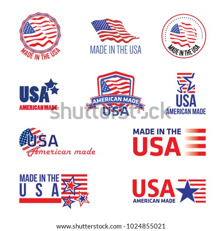 Made in the USA, set of graphic icons
