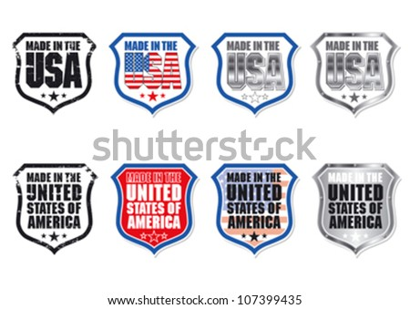 Made in the USA Shield with Stars and Stripes editable vector graphic - stock vector