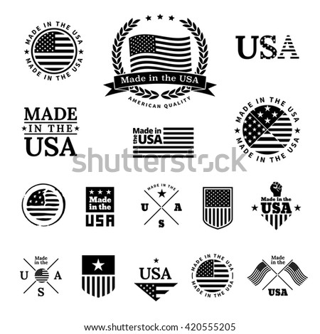 Made in the USA - signs and labels vector collection in black color.