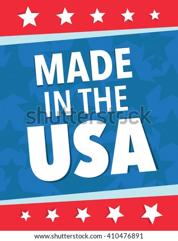 Made in the USA star and strips poster - stock vector