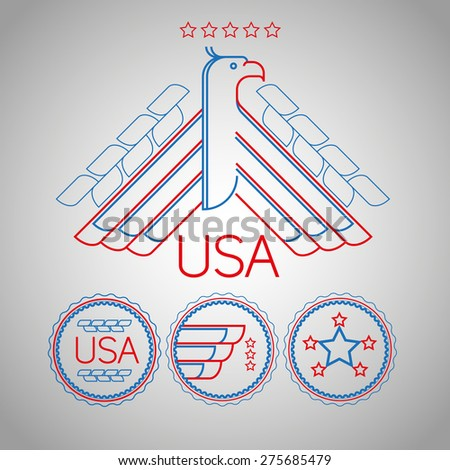 Made in the USA Symbol with American color, flag and eagle, simple line design, vector illustration - stock vector