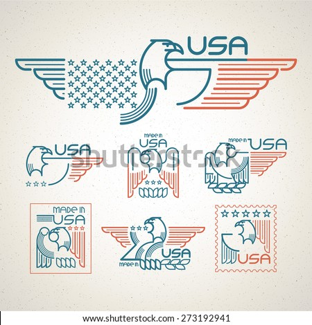 Made in the USA Symbol with  American flag and eagle Set of templates emblems. Vector illustration EPS 10