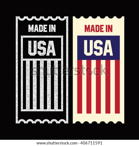 Made in the USA ticket. - stock vector