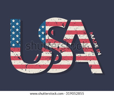 Made in the USA typography design, t-shirt graphics.  - stock vector