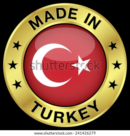 Made in Turkey gold badge and icon with central glossy Turkish flag symbol and stars. Vector EPS 10 illustration isolated on black background. - stock vector