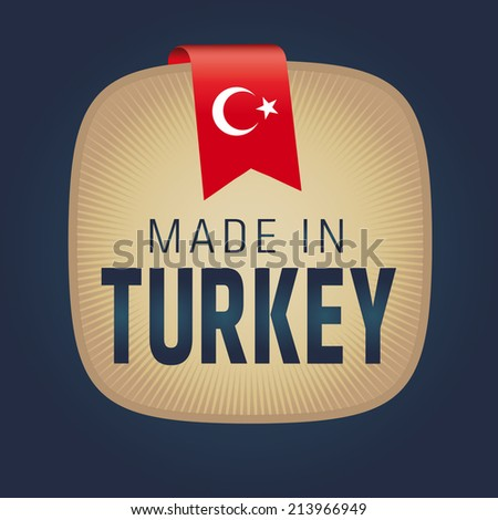 Made in Turkey Label, Gold - stock vector