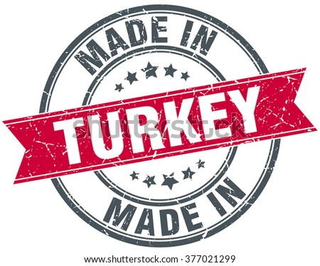 made in Turkey red round vintage stamp - stock vector