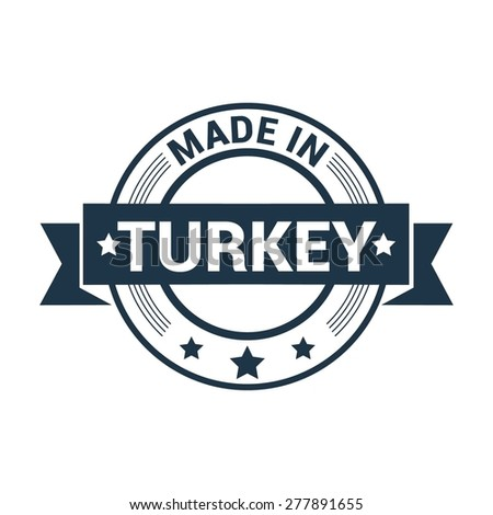 Made in Turkey - Round blue rubber stamp design isolated on white background. vector illustration vintage texture. - stock vector