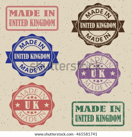 made in UK stamp set. Made in Great Britain stamp set.vector illustration.
