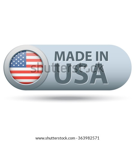 Made in USA badge with flag. Metallic color. Vector illustration. - stock vector