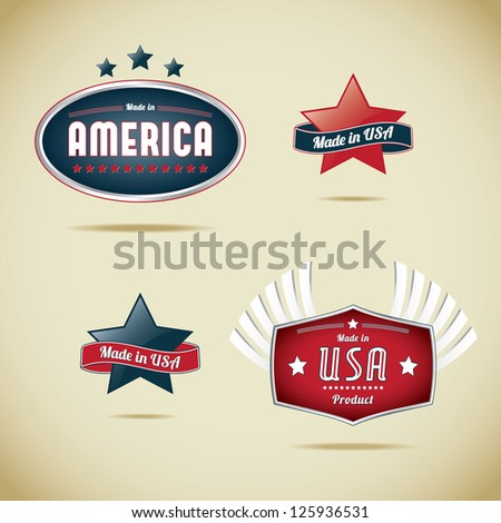 Made in Usa Collection - stock vector