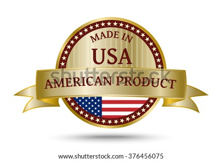 Made in USA golden badge and icon with the flag of the United States of America - stock vector
