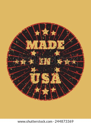 Made in usa grunge round emblem vector illustration, eps10, easy to edit - stock vector