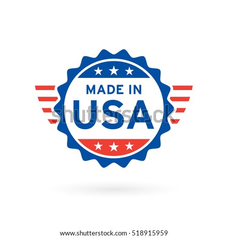 Made in USA icon concept badge design with blue and red American flag emblem elements. Vector illustration.