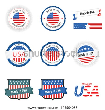 Made in USA labels, badges and stickers - stock vector