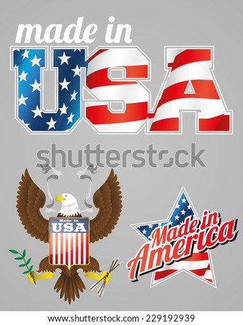 made in USA labels with bold eagle and American flag - stock vector