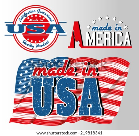 made in usa logos with american flag - stock vector