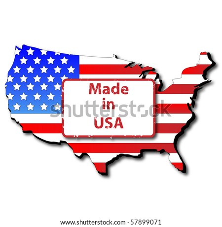 Made in USA, Map and Flag - stock vector