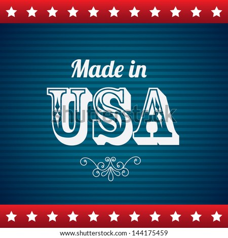 made in usa over blue background vector illustration - stock vector