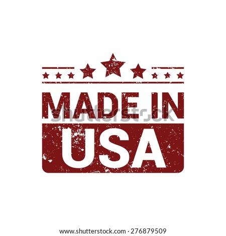 Made in USA . red grunge rubber stamp design isolated on white background. With vintage texture.