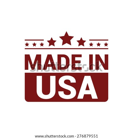 Made in USA . red rubber stamp design isolated on white background. With vintage texture. - stock vector