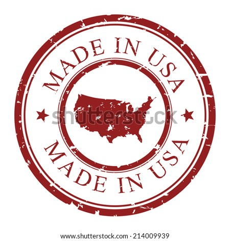 Made in USA, retro grunge stamp with USA map inside, isolated on white background. Vector stamp illustration. - stock vector