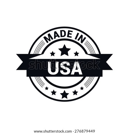 Made in USA . Round Black rubber stamp design isolated on white background. With vintage texture. - stock vector