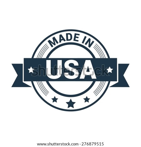Made in USA . Round blue rubber stamp design isolated on white background. With vintage texture. - stock vector