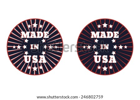 Made in usa round emblem vector illustration, eps10, easy to edit - stock vector