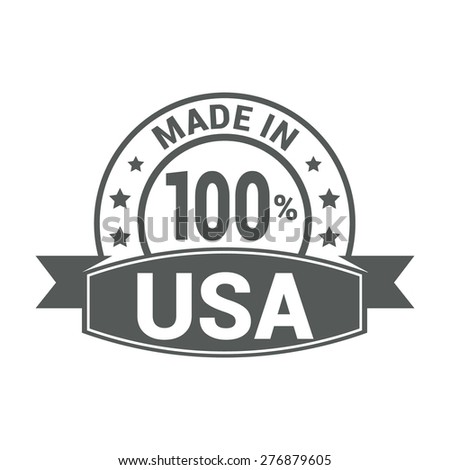 Made in USA . Round gray rubber stamp design isolated on white background. With vintage texture. - stock vector