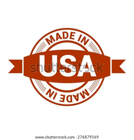 Made in USA . Round red rubber stamp design isolated on white background. With vintage texture. - stock vector