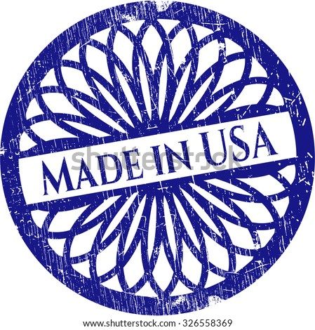 Made in USA rubber grunge texture stamp - stock vector