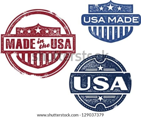 Made in USA Rubber Stamp Vectors - stock vector
