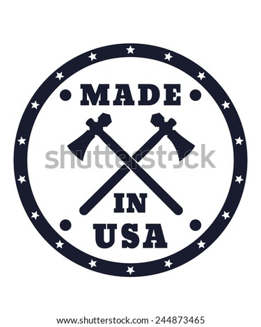 Made in USA sign with tomahawks vector illustration, eps10, easy to edit - stock vector