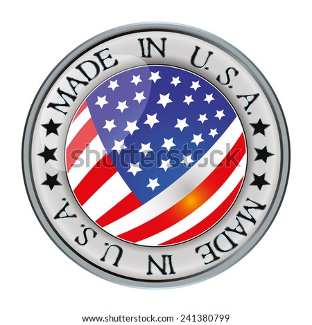 Made in USA. silver badge and icon with central glossy USA. flag symbol and stars. Vector EPS 10 illustration isolated on white background. - stock vector
