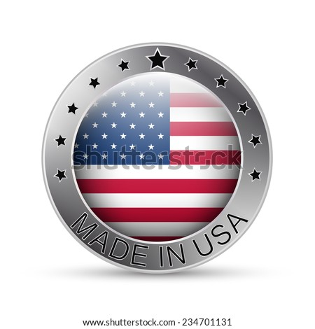 Made in USA silver badge, emblem or symbol, round label in american style/vector illustration - stock vector