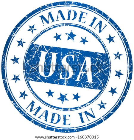 Made in usa vector round blue stamp - stock vector