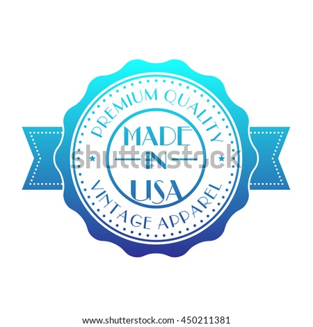 Made in USA, vintage badge isolated on white - stock vector