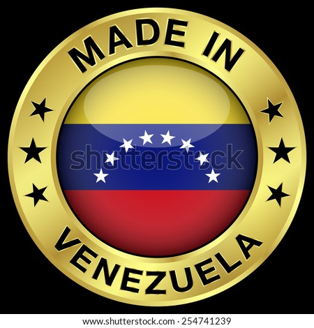 Made in Venezuela gold badge and icon with central glossy Venezuelan flag symbol and stars. Vector EPS 10 illustration isolated on black background. - stock vector