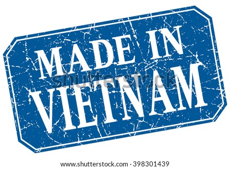 made in Vietnam blue square grunge stamp