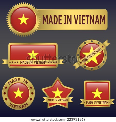 made in Vietnam labels and stickers. Vector illustration. - stock vector