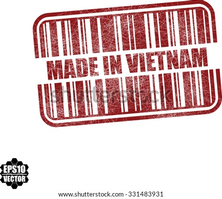 Made in Vietnam With Barcode And Shadow Red Grunge Stamp Isolated On White Background. Vector illustration  - stock vector